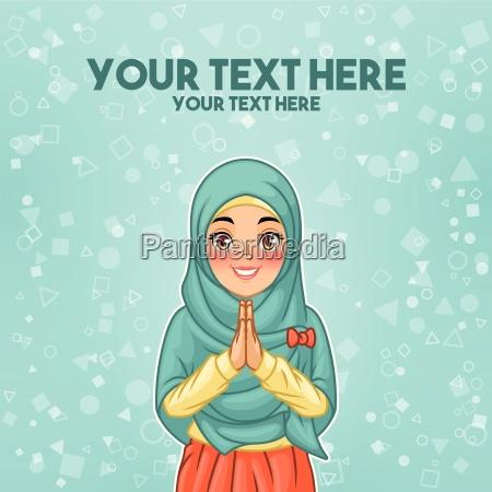 young muslim woman wearing hijab veil