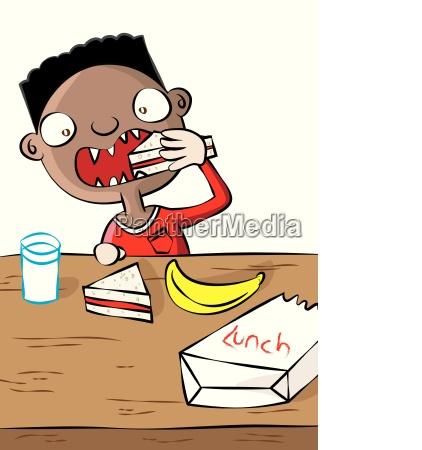 cute black boy having lunch in