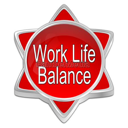 decorative red work life balance button