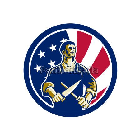 american butcher usa flag icon