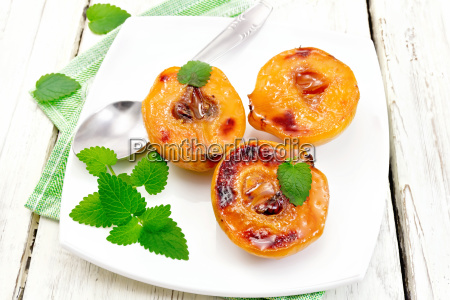 quince baked with mint in plate