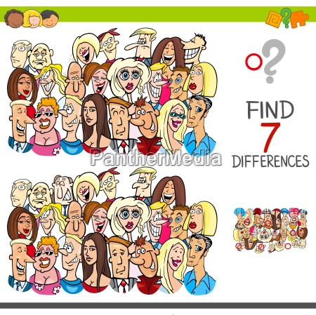 find differences game with people characters