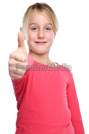 child girl laughing happy thumbs up