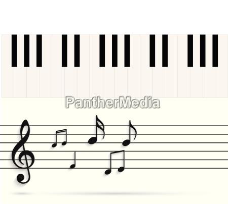 piano keys and notes illustration