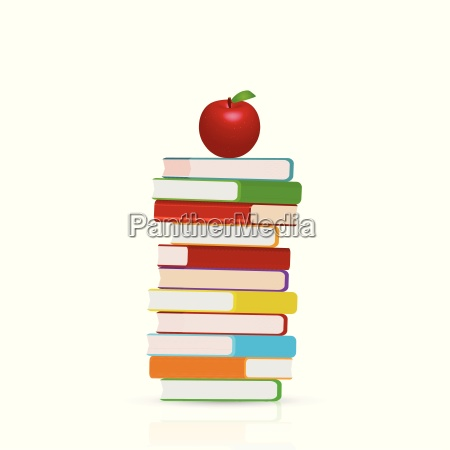 books and apple illustration