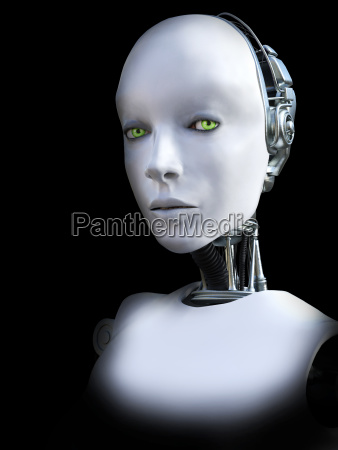 3d rendering of female robot head