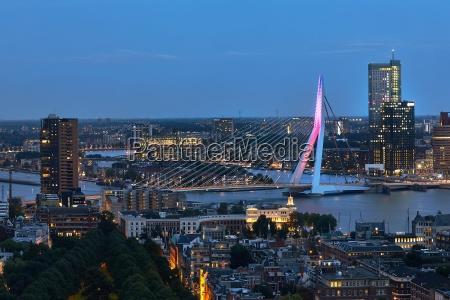 rotterdam panoramic night view