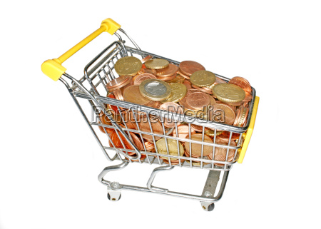 tiny shopping cart full of money
