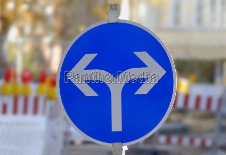 sign signal blue detail city town