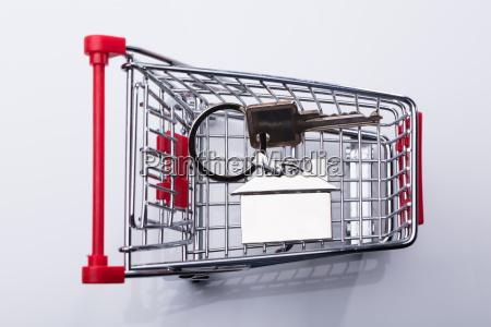 elevated view of shopping cart and