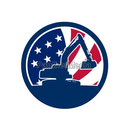 american excavator usa flag icon