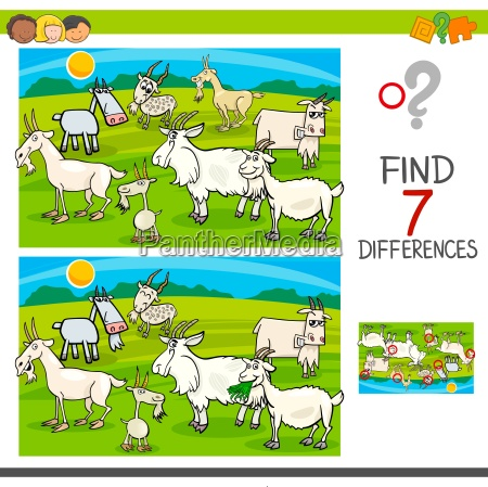 find differences game with goats animal
