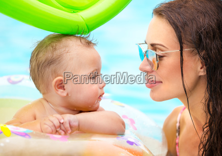 beautiful mother with son in the