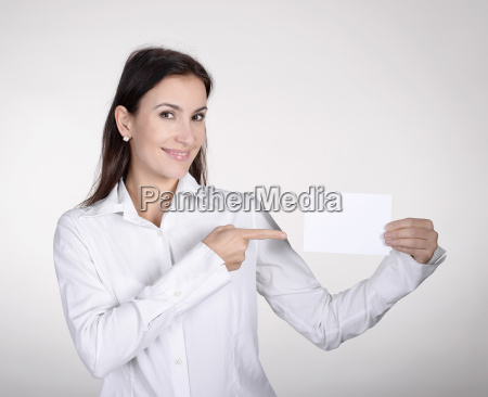 businesswoman shows business card