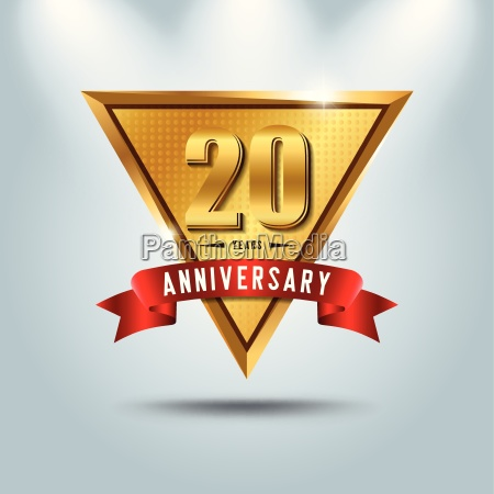 20 years anniversary celebration logotype golden