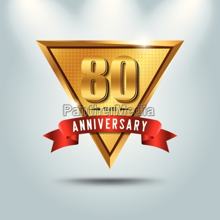 80 years anniversary celebration logotype golden