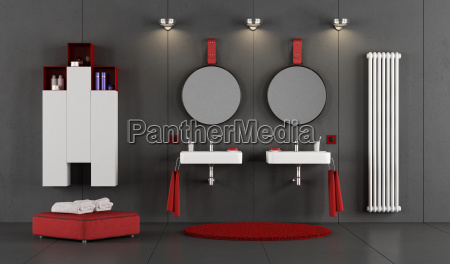 modern bathroom with two double washbasin