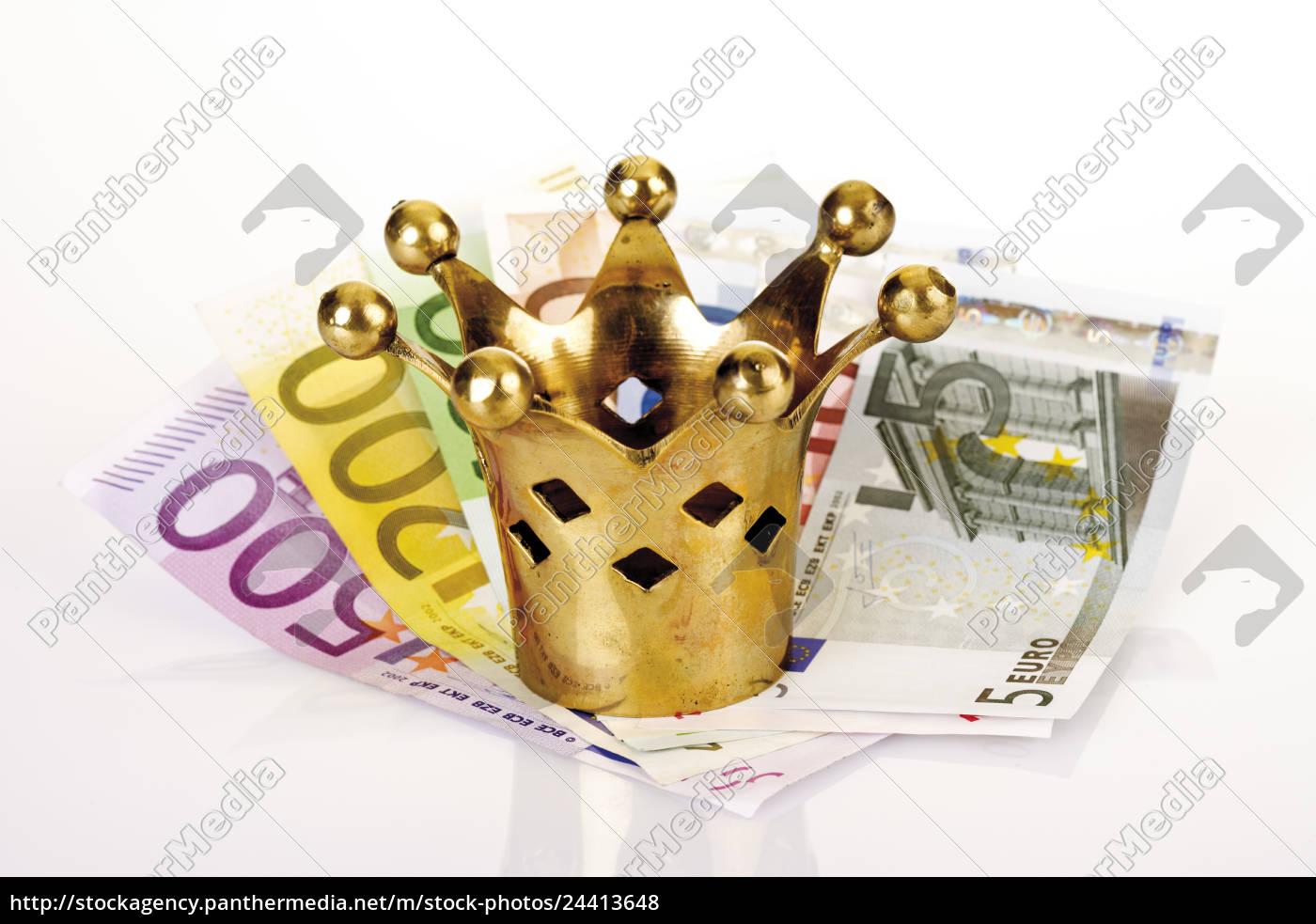 goldene, krone, auf, euroscheinen - 24413648