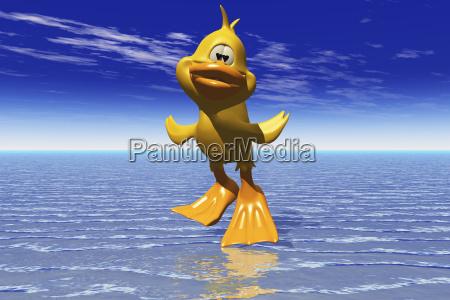 cartoon image of a duck running