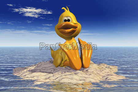 cartoon image of a duck sitting