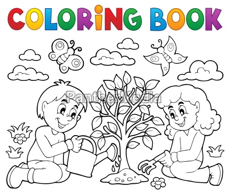 coloring book kids planting tree