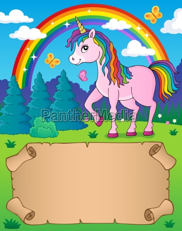 small parchment and happy unicorn