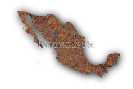 map of mexico on rusty metal