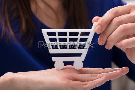 woman holding shopping cart