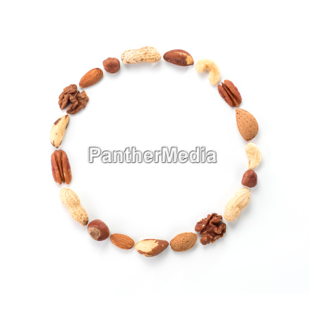 pattern of nuts in circle form