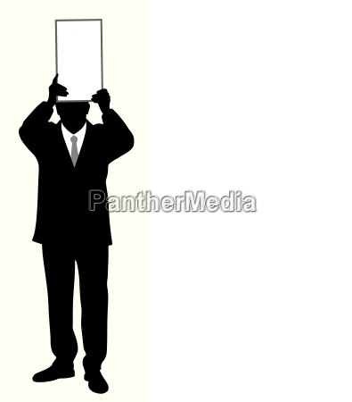businessman holding blank board above his