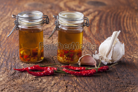 olive oil with garlic chilli and