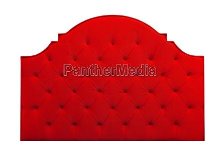 red velvet bed headboard isolated on