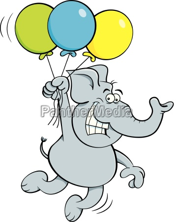 cartoon illustration of an elephant holding