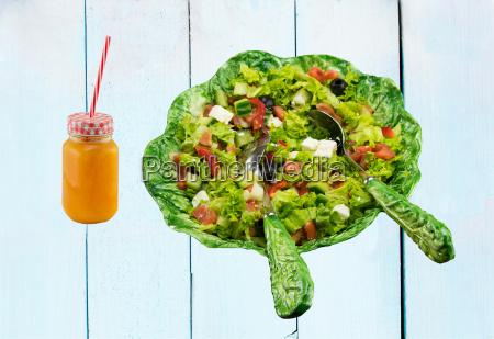 healthy fresh vegetable salad in ceramic