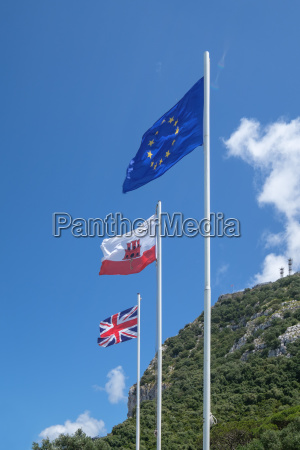 flags on the rock of gibralta