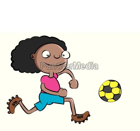 funny black school girl playing soccer