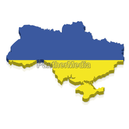 outline and flag of ukraine 3d