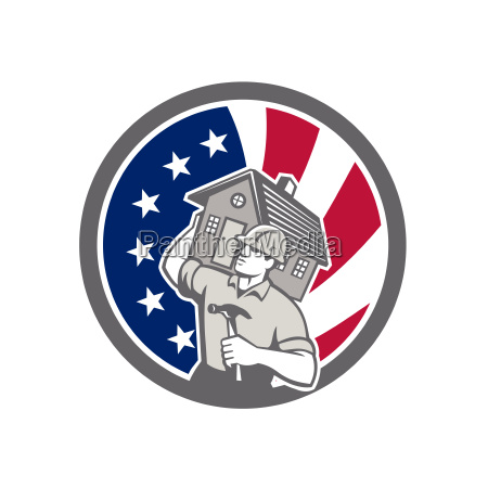 american building contractor usa flag icon