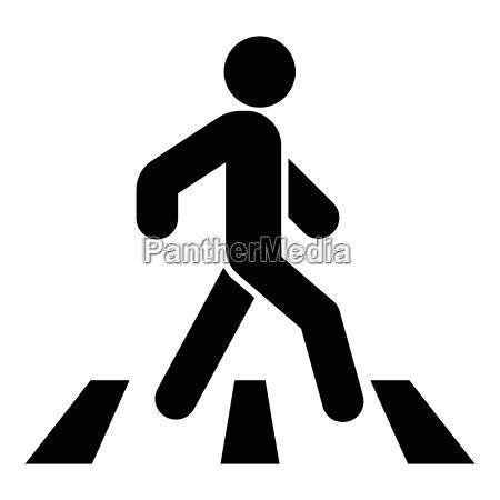 pedestrian on zebra crossing icon black