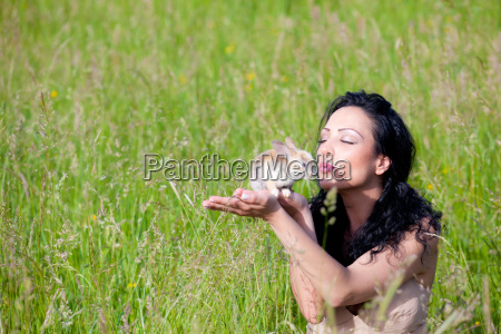 girl playing with rabbit