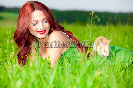 beautiful girl with rabbit