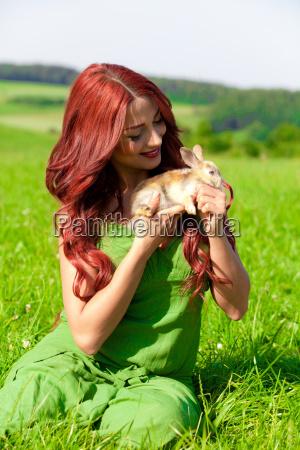 beautiful girl with rabbit