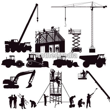 excavator and crane wheel loader on