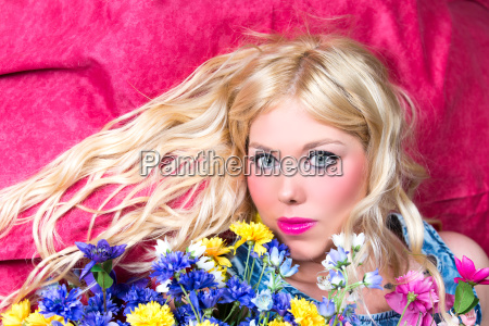 blonde woman with blue eyes and