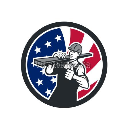 american lumberyard worker usa flag icon
