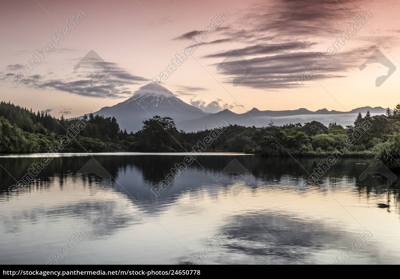 currently, inactive, volcano, mt., egmont, mt., taranaki, reflection, in - 24650778