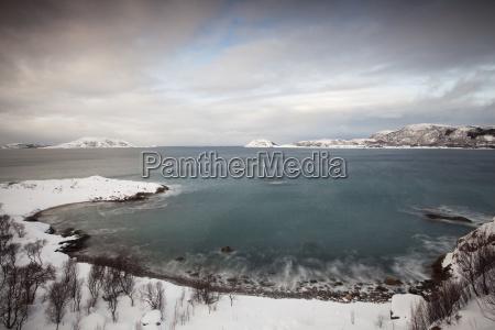bay at somaroy in winter tromso
