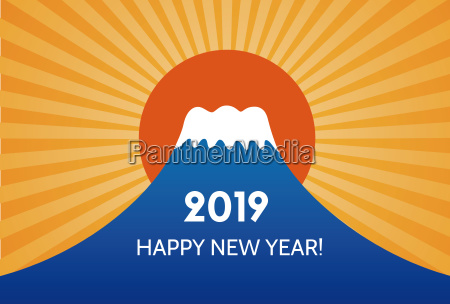 new year card with mtfuji for