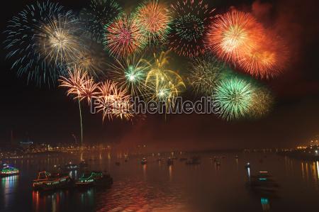 fireworks dadaocheng taiwan china asia