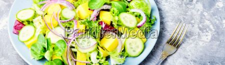 vegetarian salad with vegetable and mango